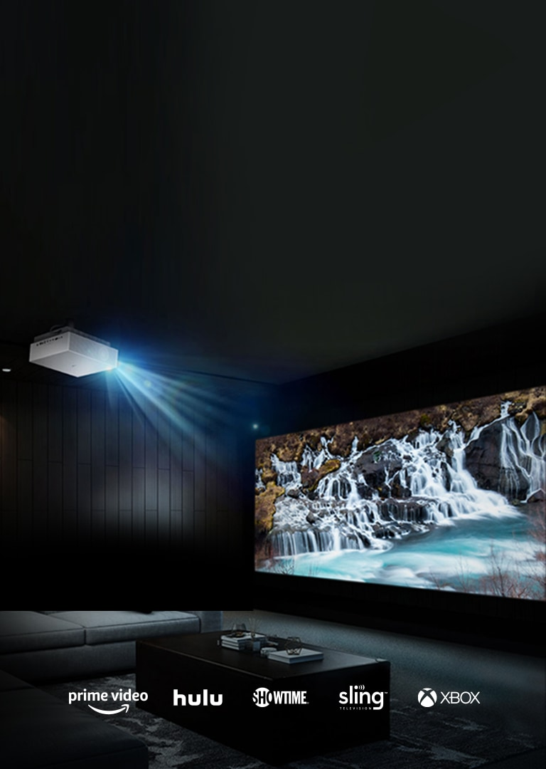 LG Projector projecting on a wall screen