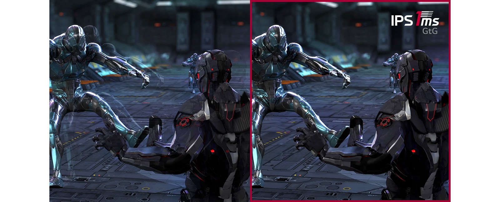 While the player guards and shoots against 3 opponents In the fast paced FPS game, the gaming scene with IPS 1ms (GtG) response time maintains more clear images without dimming and flickering screens, comparing to the scene with IPS 5ms response time.