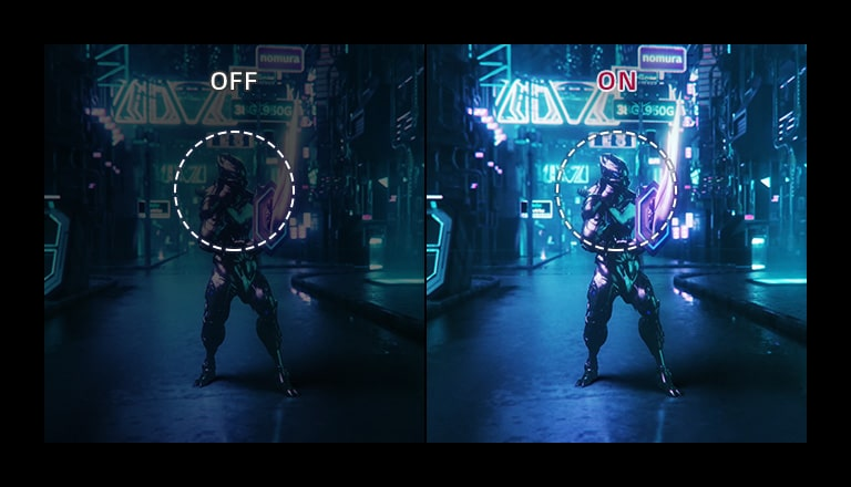 Gaming graphic demonstrating difference between black stabilizer feature on and off
