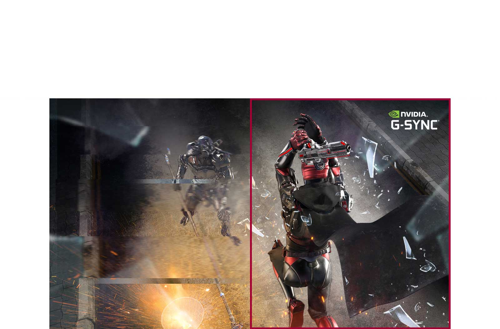 Gaming graphic demonstrating reduced screen tearing with G-SYNC feature on
