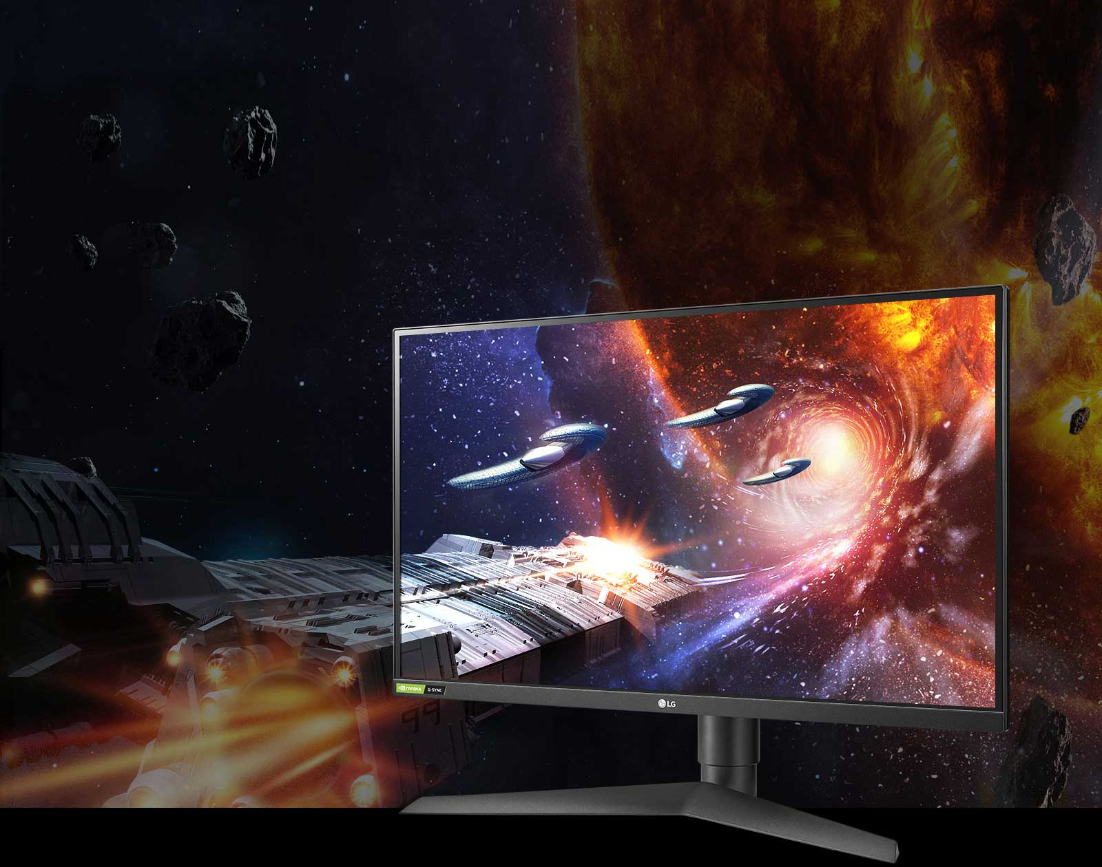 Image of 27GN750 monitor with gaming graphic on-screen demonstrating rich colors and contrast