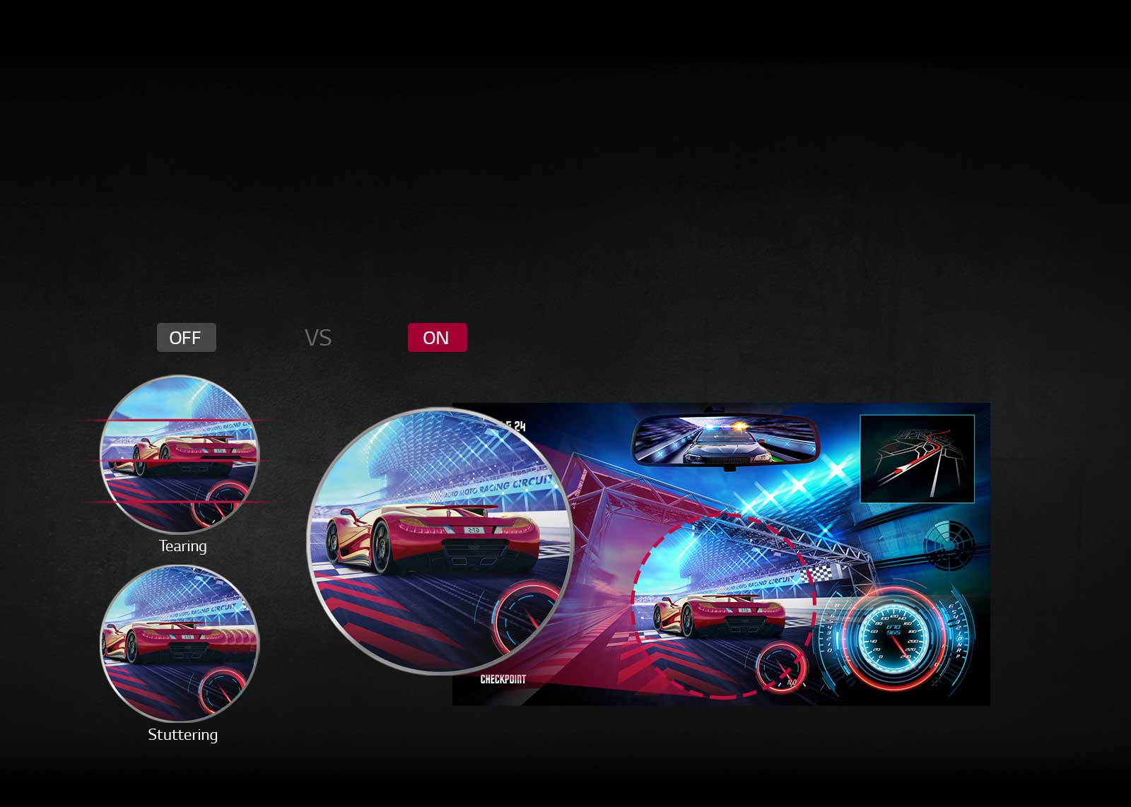 Image demonstrating on-screen difference with FreeSync technology on and off