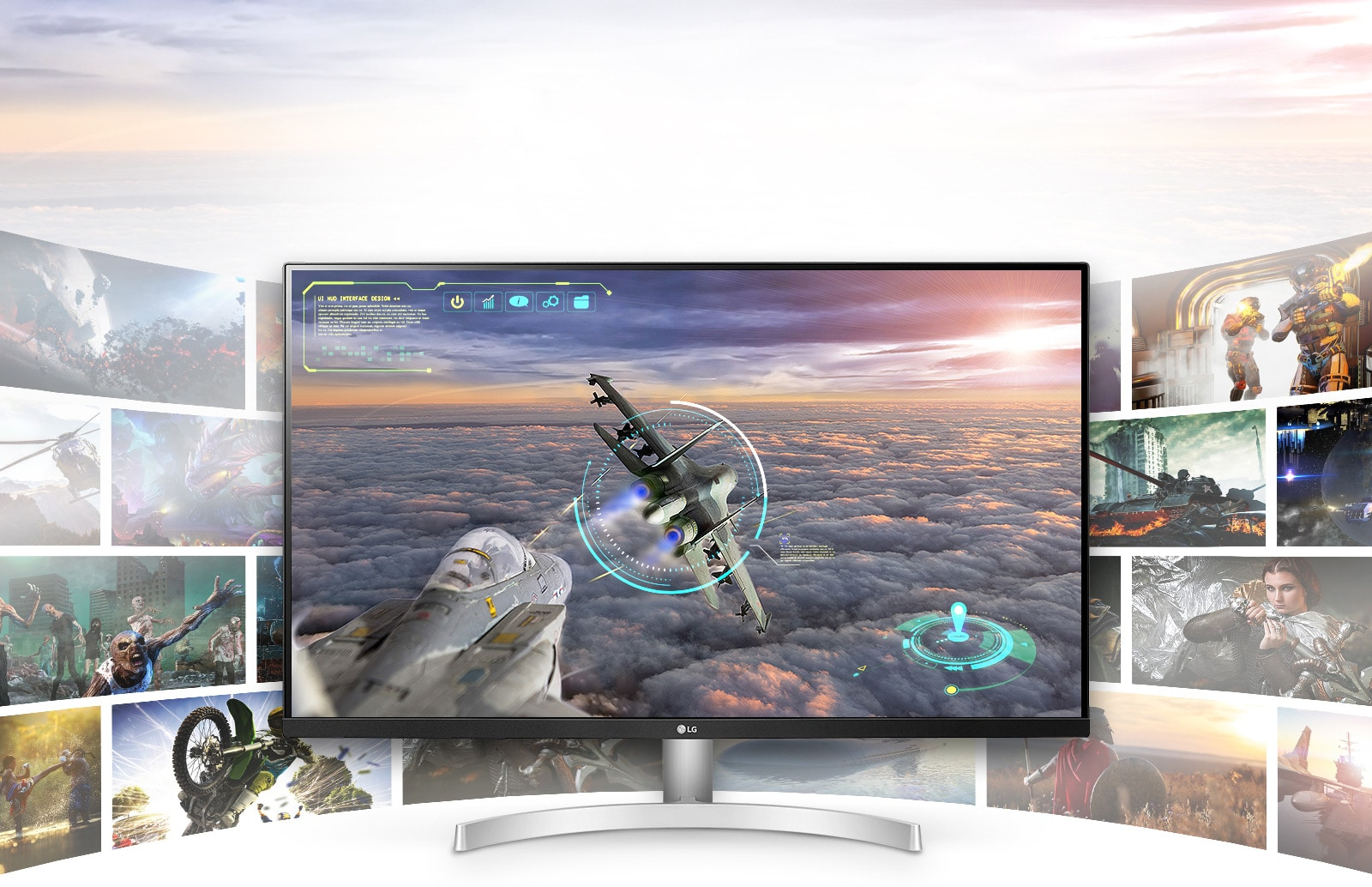 Cảnh chơi game với độ rõ nét và chi tiết vượt trội trong màn hình LG UHD 4K