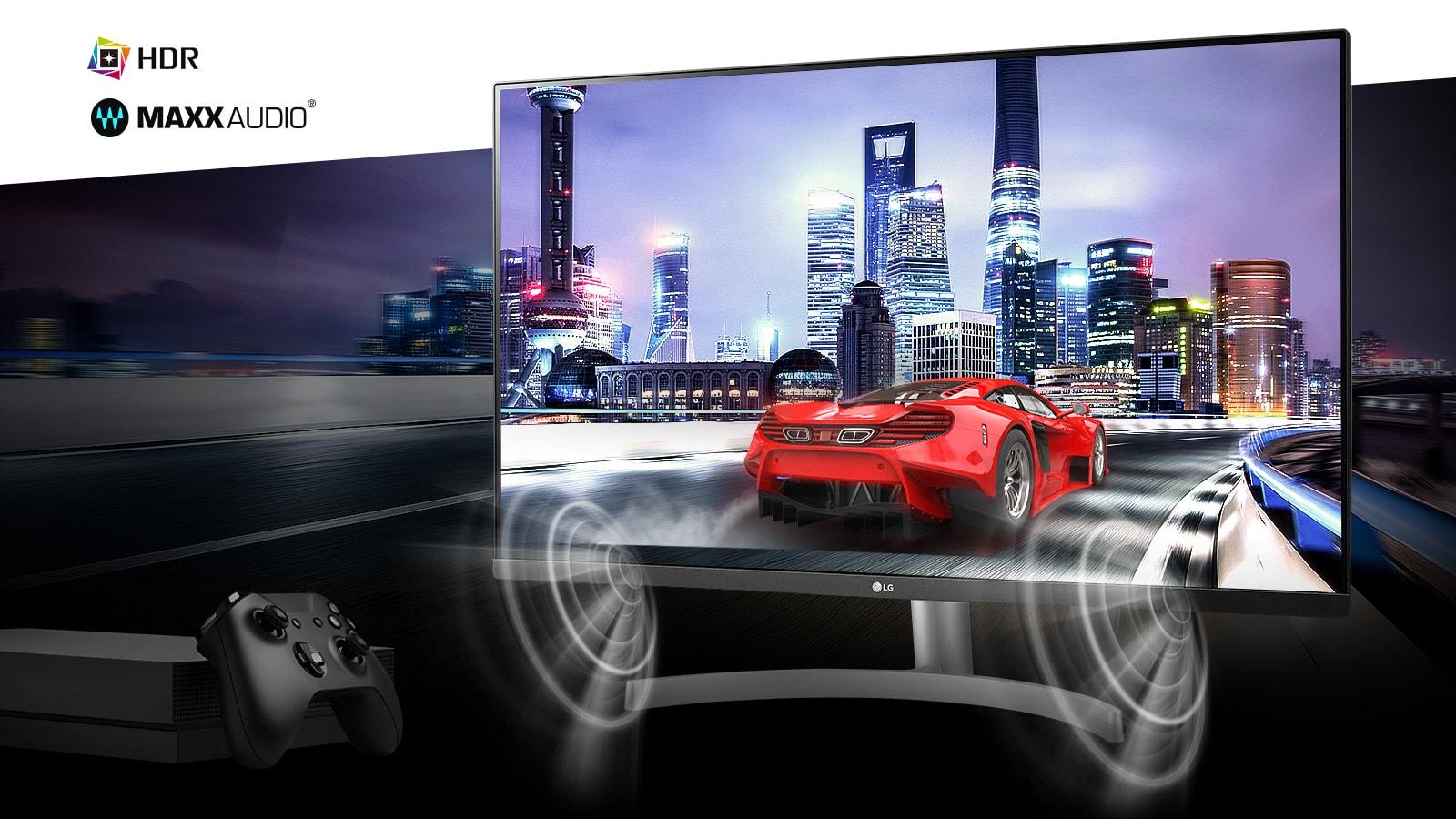Đắm chìm trong trò chơi bảng điều khiển 4K HDR chân thực với cảnh xe hơi với MAXXAUDIO®