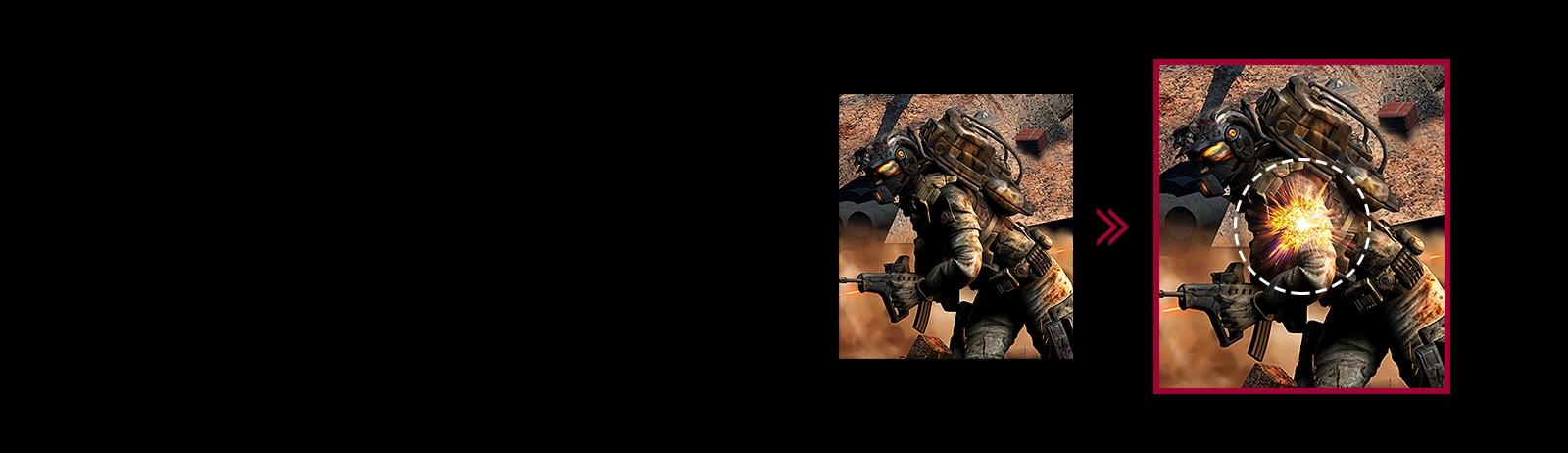 Cảnh chơi game với độ trễ đầu vào được giảm thiểu so với chế độ thông thường