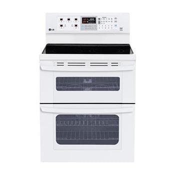 capacity electric double oven range with superboil burner and easyclean