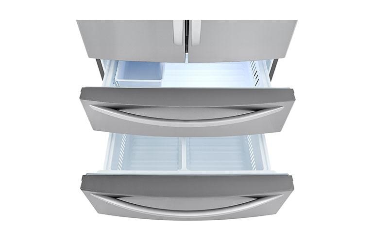 Refrigerator showcasing styled double freezer drawers