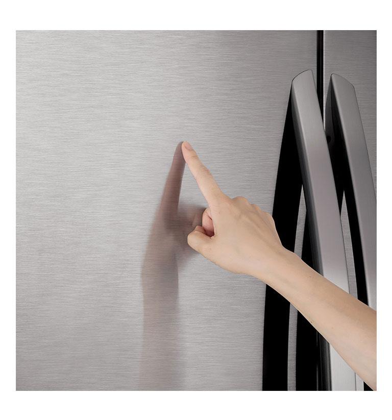 Hand touching LG PrintProof finish