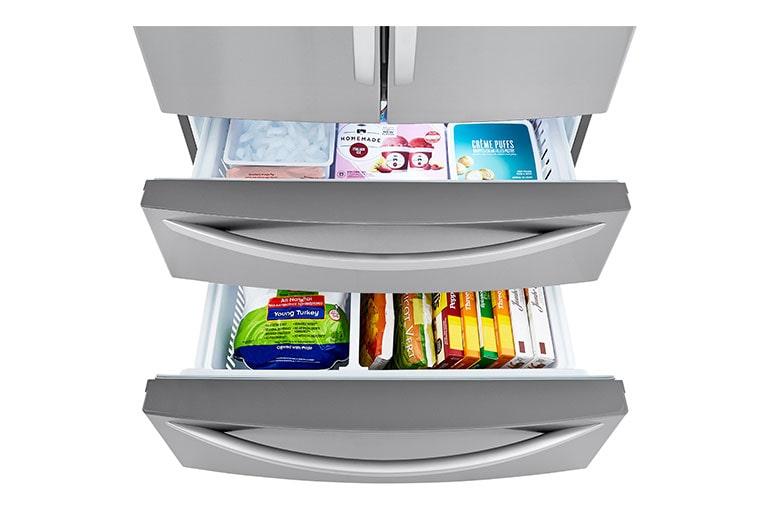 Refrigerator showcasing Double Freezer Drawers