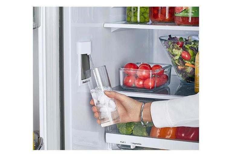 Refrigerator exterior showcasing internal water dispenser