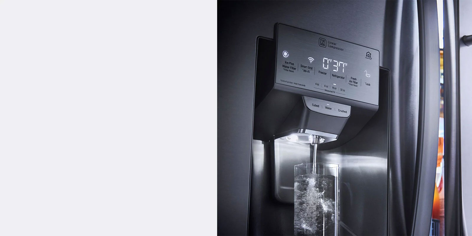 Refrigerator showcasing Ice and Water Dispenser filling a glass of water