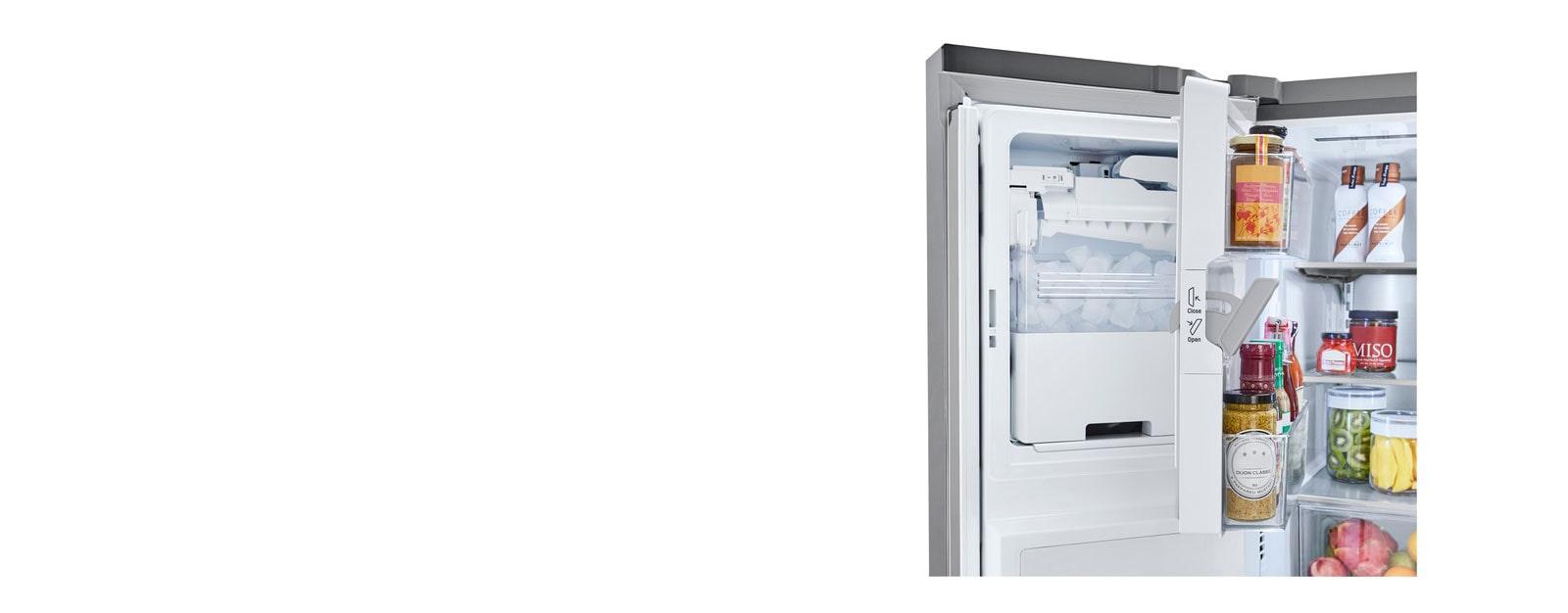 Refrigerator interior showcasing Slim SpacePlus® Ice System