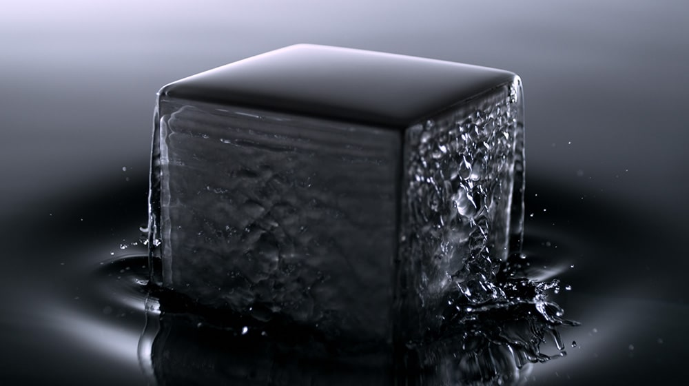Square object is coming out of some kind of liquid to express the full stainless body of LG SIGNATURE Refrigerator.