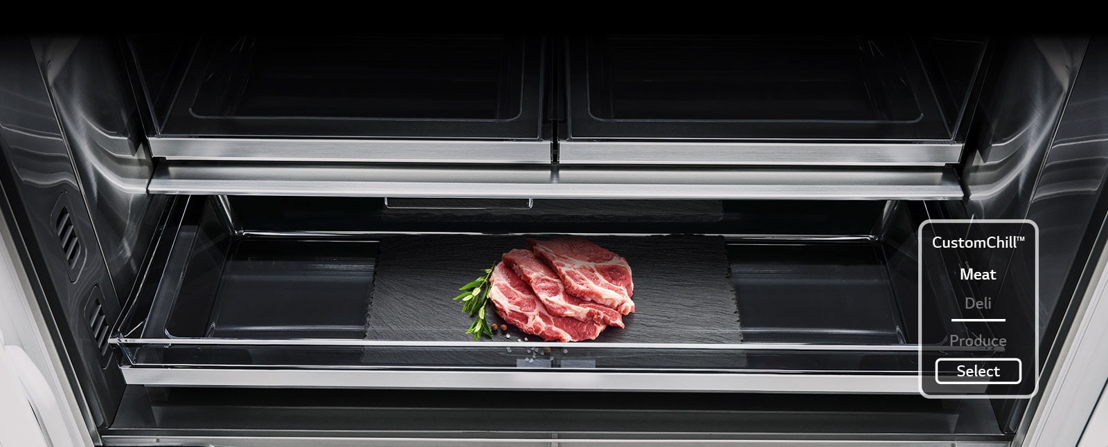 Custom Chill™ Pantry drawer and close up of different produce temperature settings