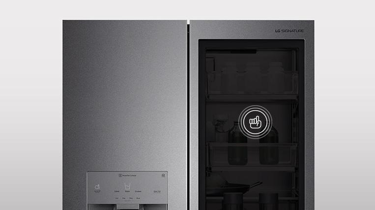 InstaView™ Door-in-Door® refrigerator panel off