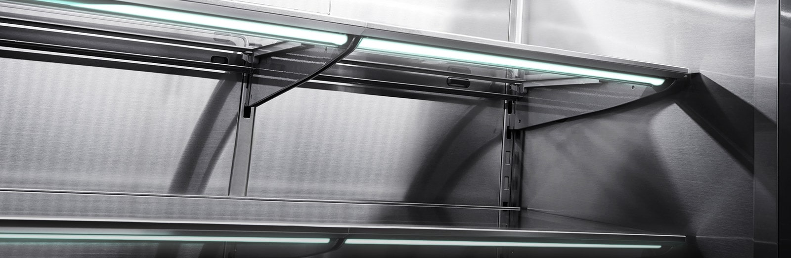Refrigerator showcasing Premium LED lighting under each shelf