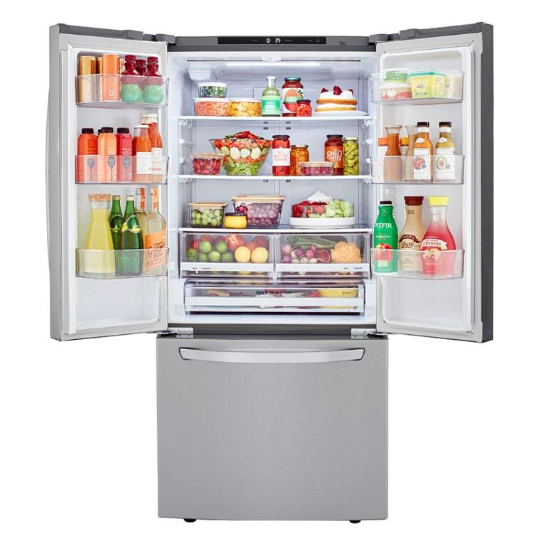 LG LRFCS25D3S refrigerator showcasing interior width