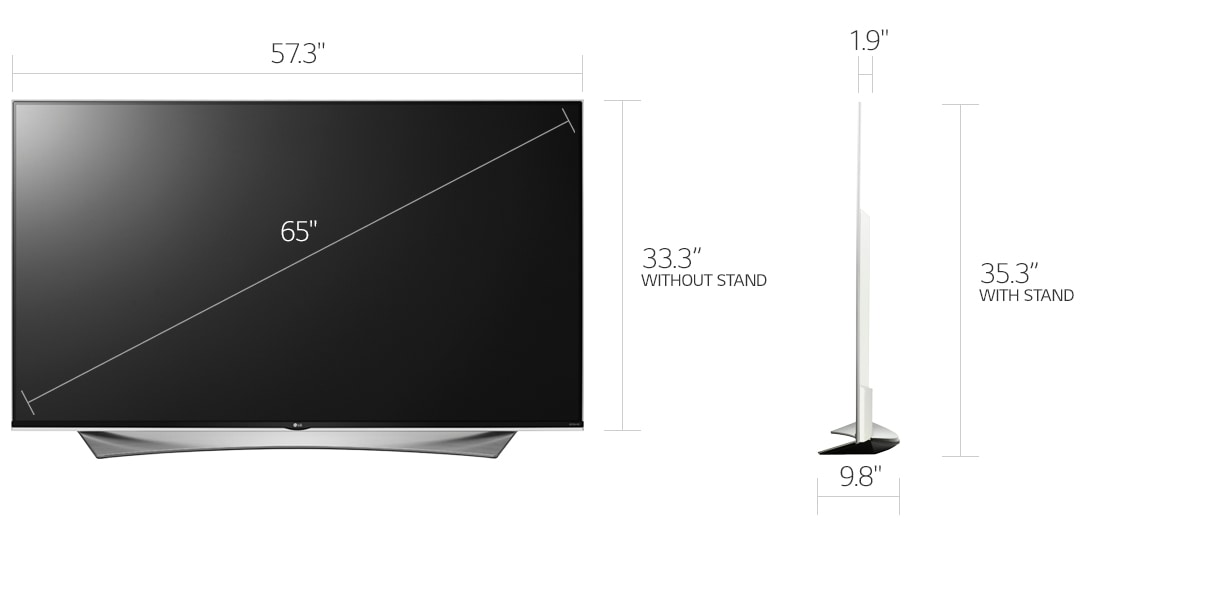 Lg electronics 65uf9500 65 inch 4k ultra hd 120hz 3d led tv 2160p 719192596450 ebay - Dimension tv 55 pouces ...