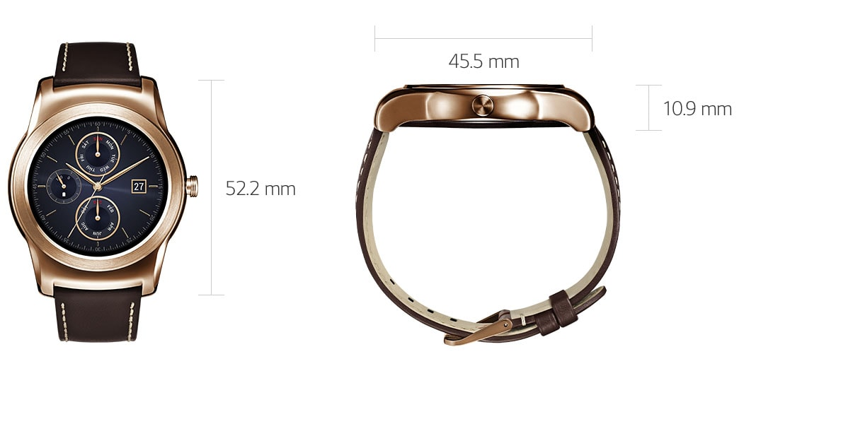 The face of the LG Watch Urbane Silver measures 52.2 millimters tall by 45.5 millimeters wide by 10.9 milimeters thick.