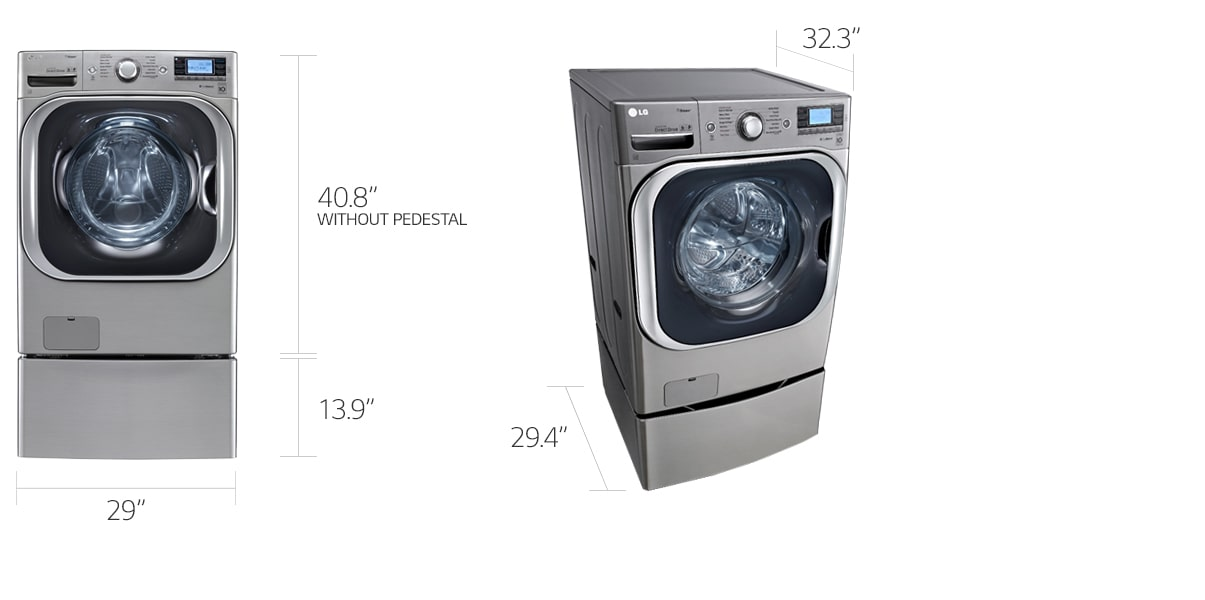 dimensions of a front loading washing machine