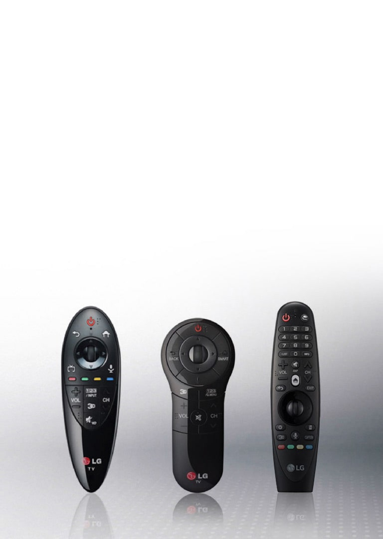 Top and bottom view of a black LG magic remote.