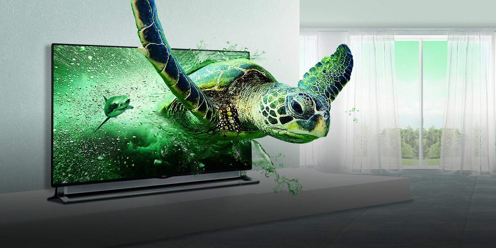 LG 3D TV with the image of a sea turtle on the screen.