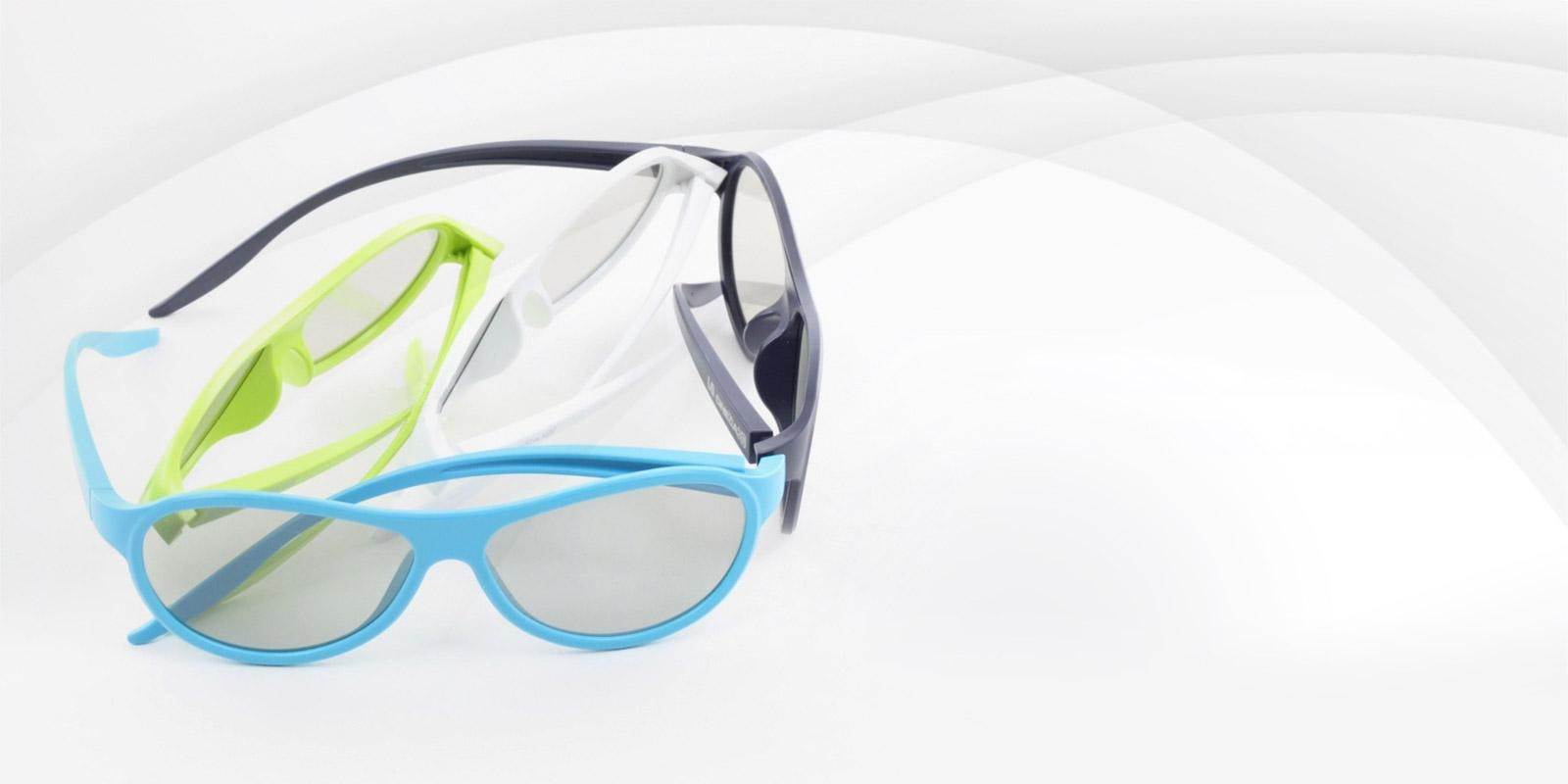 A close-up view of a number of pairs of LG 3D glasses in an assortment of colors.