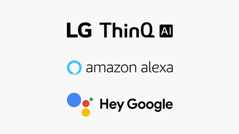 The LG ThinQ AI logo, the Google Assistant logo, and the Amazon Alexa logo are arranged vertically in the white background.
