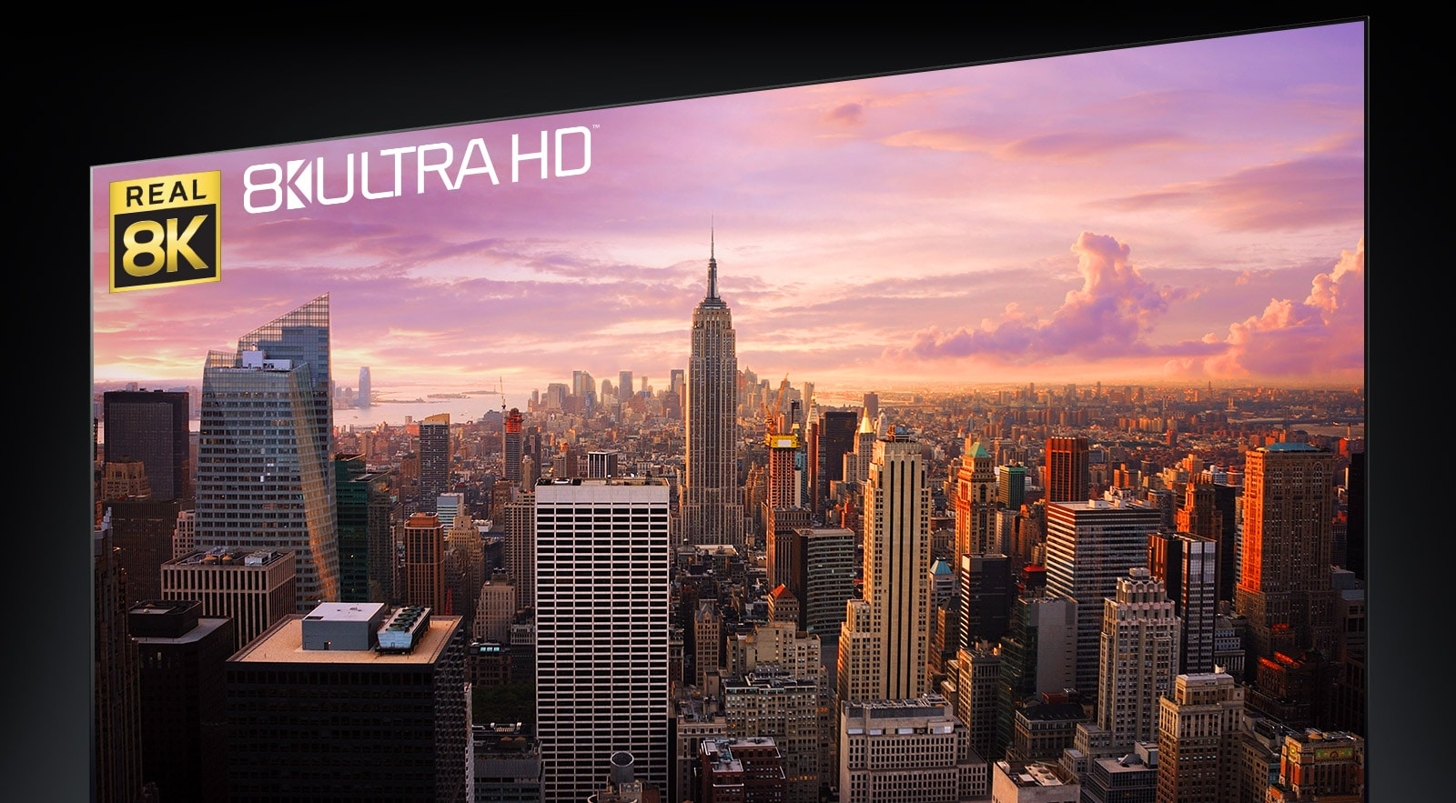 A panoramic view of New York City on the TV screen
