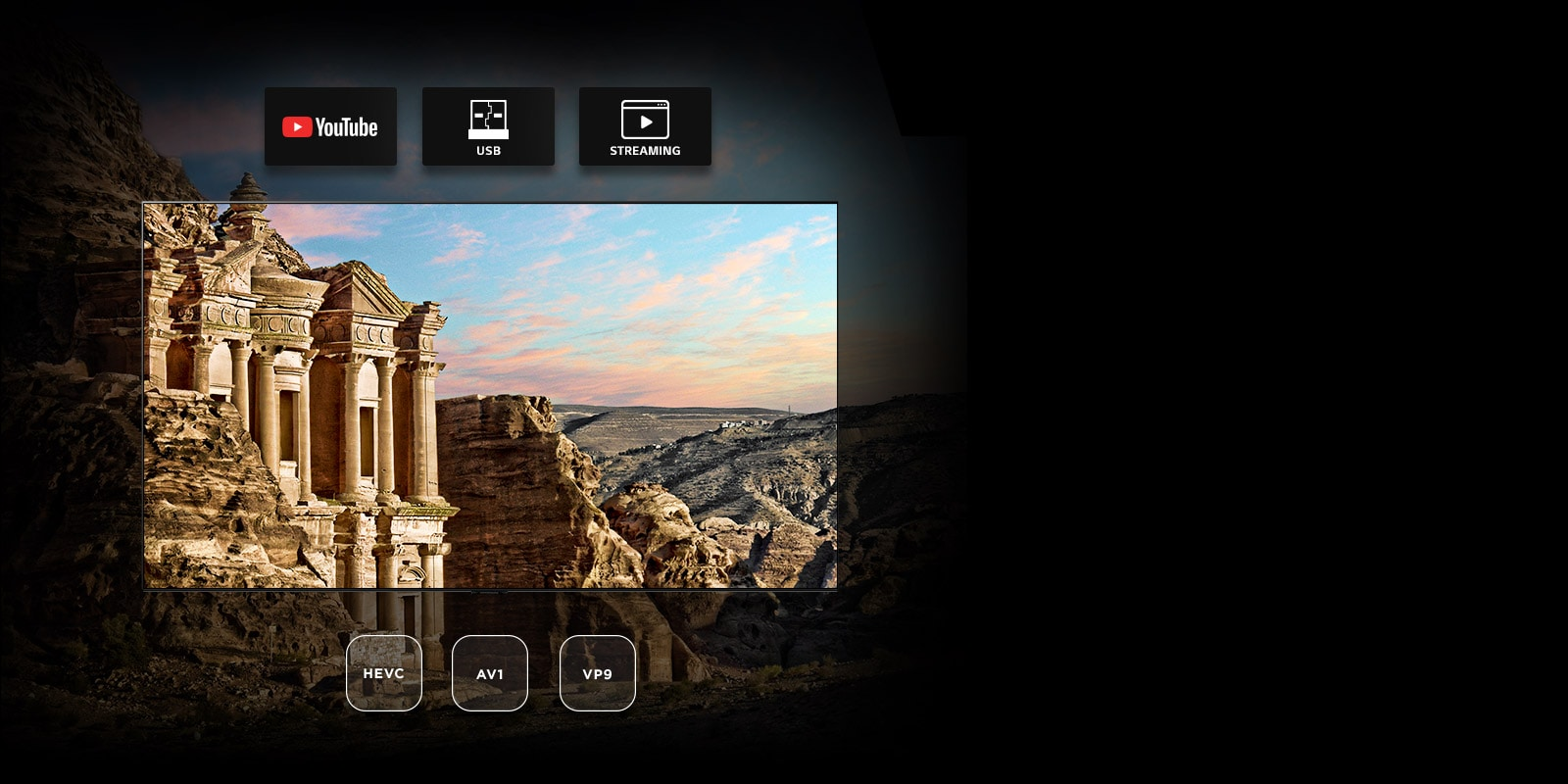 TV screen with view of ancient architecture