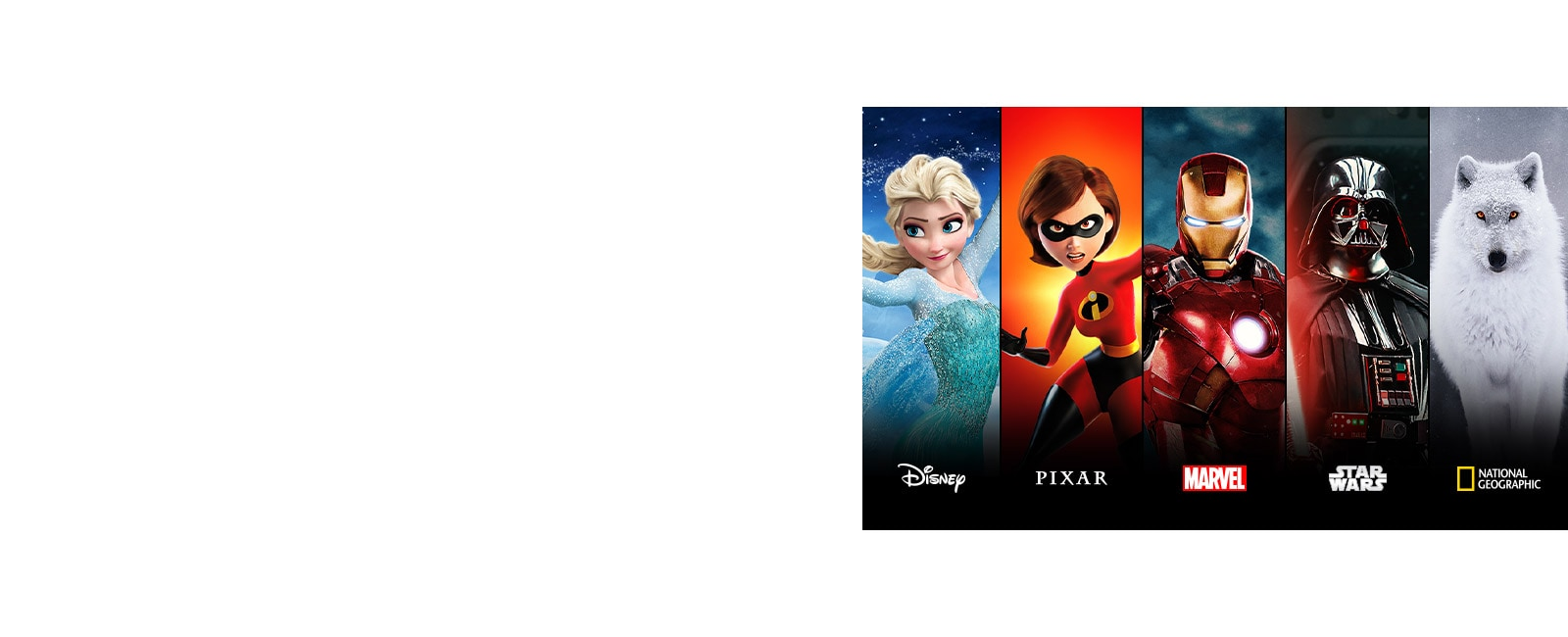 Disney Moana, Pixar Incredibles, Marvel Iron Man, Star Wars, and National Geographic title cards
