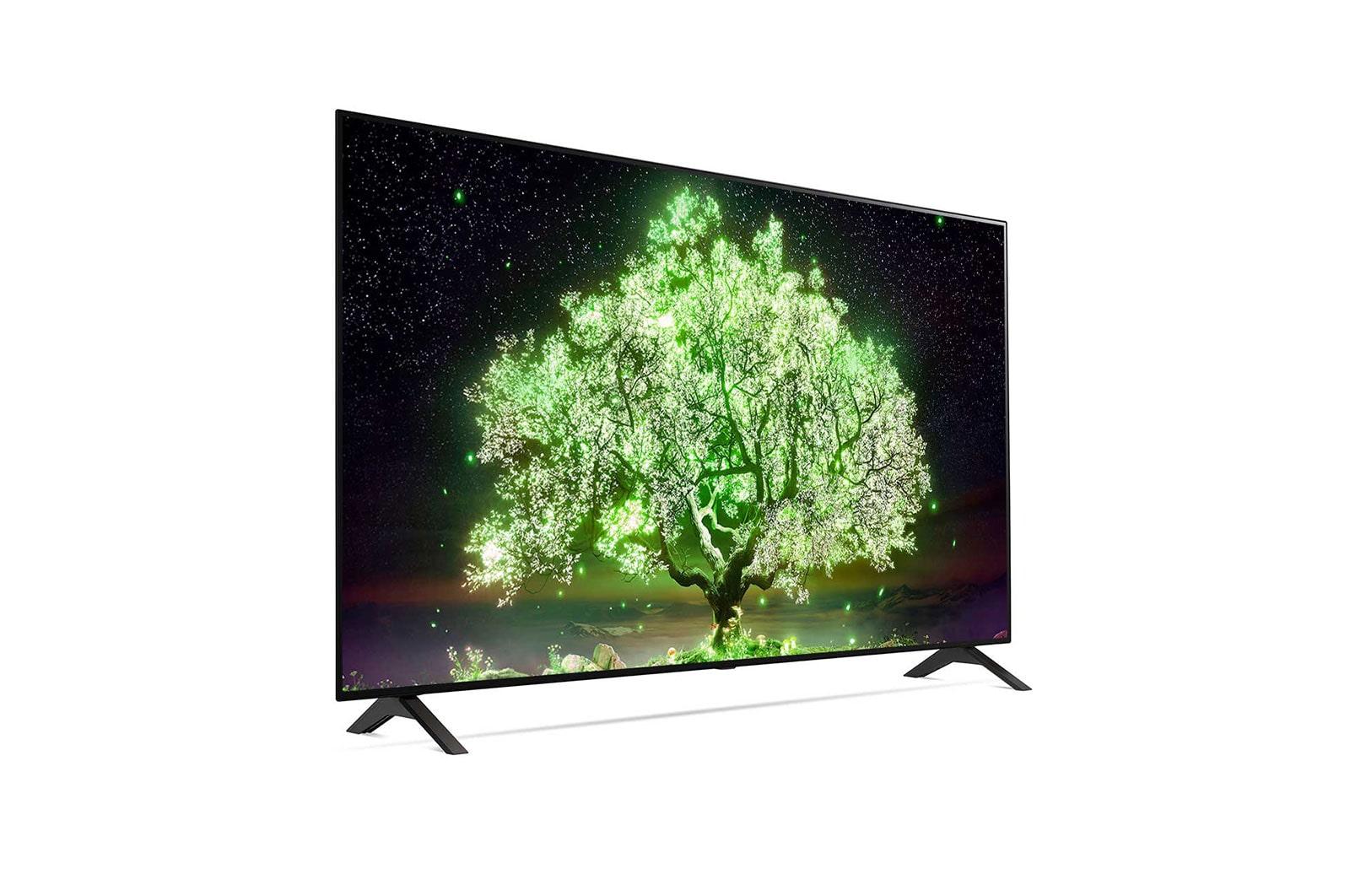 LG A1 55 inch Class 4K Smart OLED TV w/ ThinQ AI® (54.6'' Diag), 30 degree side view, OLED55A1PUA
