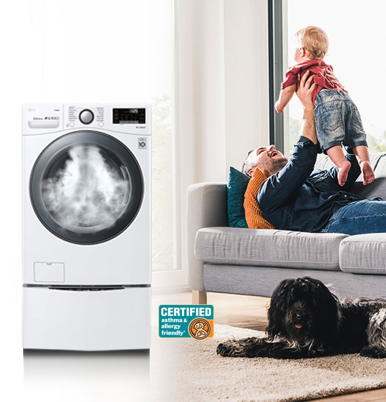 AAFA Certified LG Washer and man carrying baby
