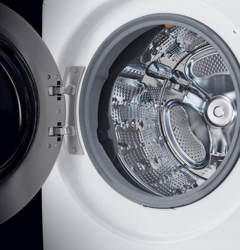 Washer showcasing open detergent and fabric softener dispenser