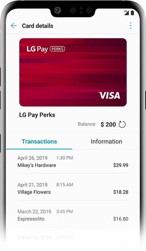 An LG phone displays the LG Pay app.