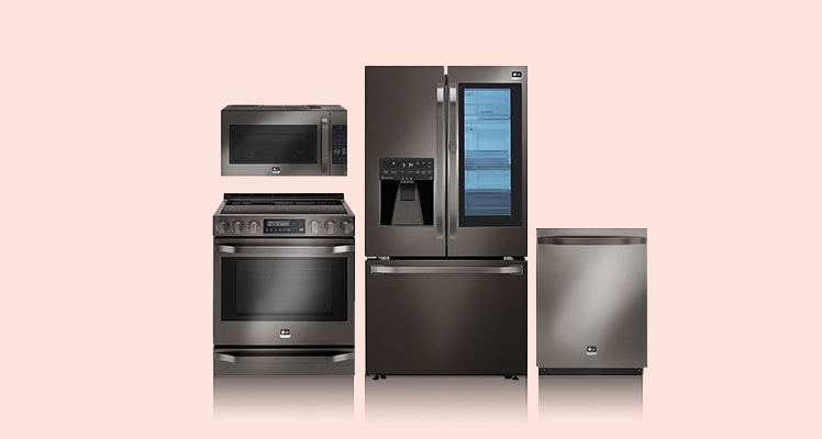 collage of appliances on beige background