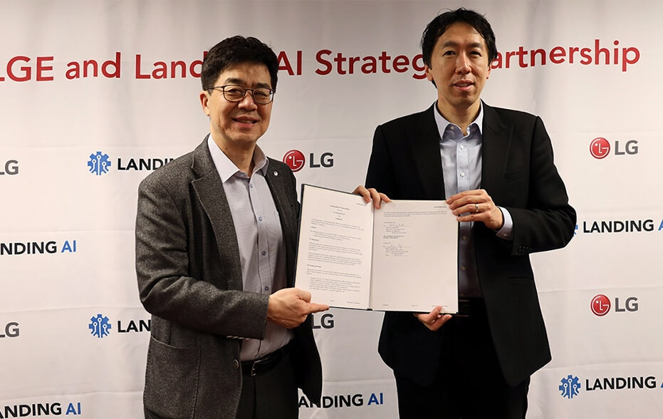 Strategy partnership between LG Electronics and Silicon Valley startup Landing AI