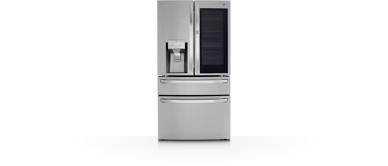 Silver color LG instaview door-in-door refrigerator.