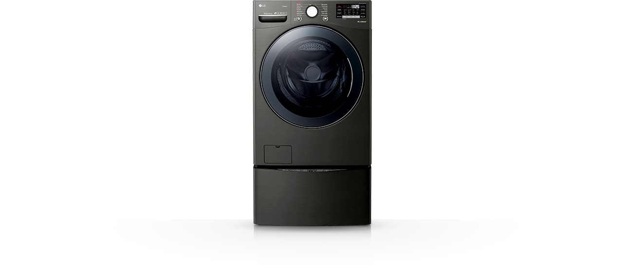 Black color LG ThinQ front door washer.