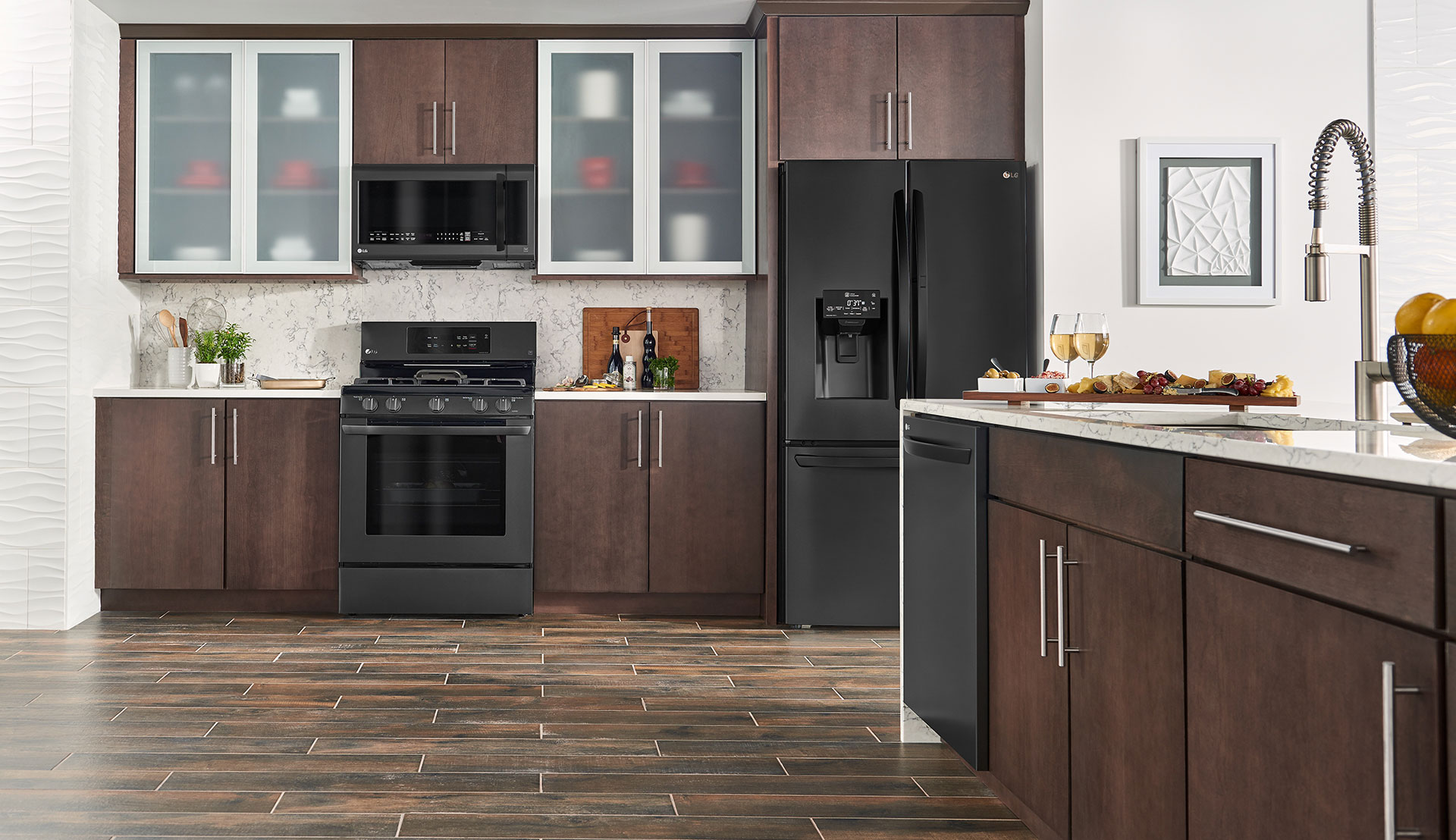 dark brown kitchen cabinets with black appliances lg matte black stainless steel embrace the side lg us 575