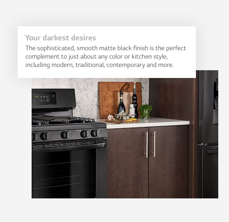 Your darkest desires. The sophisticated, smooth matte black finish is the perfect complement to just about any color or kitchen style, including modern, traditional, contemporary and more.