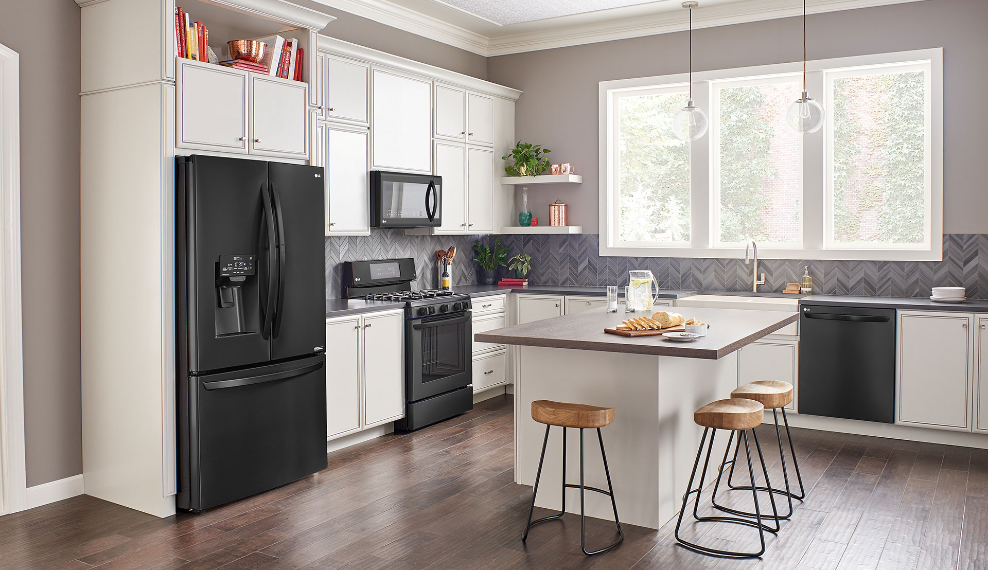 dark kitchen cabinets with black appliances lg matte black stainless steel embrace the side lg us 14467