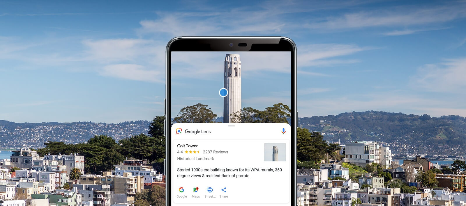 LG G7 ThinQ using Google Lens to identify the Coit Tower