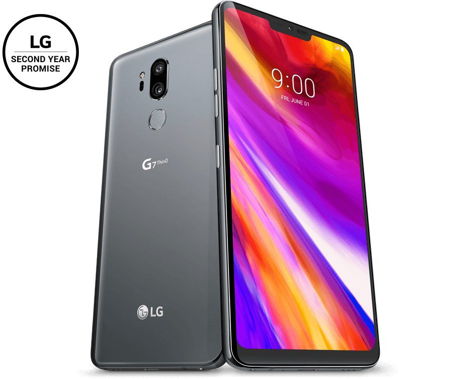 Front and back of the LG G7 ThinQ device