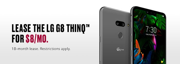 Sprint LG G8 Promo. Lease the LG G8 ThinQ for $15/mo. 18-month lease. Restrictions apply.