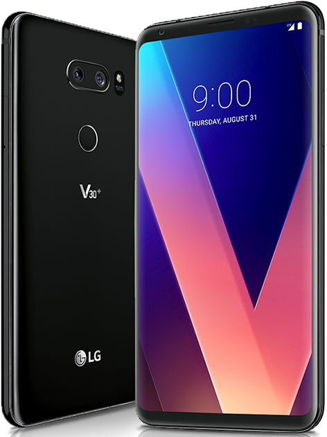 Front and back of the LG V30 Plus black device