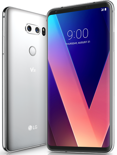 Front and back of the LG v30 plus silver device