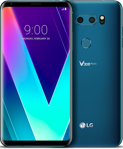 Front and back of the LG V30S ThinQ device