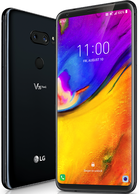 Front and back of the LG V35 ThinQ device