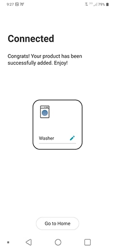 a screenshot from the lg thinq app that illustrates a successful connection to a front loading washing machine